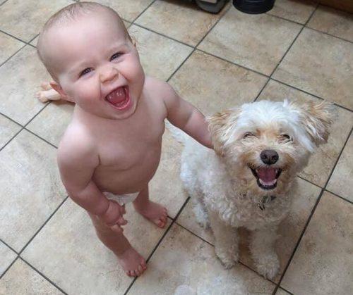 djecak i pas se smiju