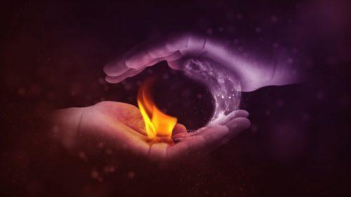 plamen u ruci, ilustracija