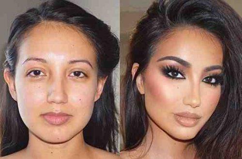 Djevojka, prije i poslije sminkanja